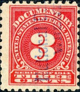 #R209 – 1914 3c ros, offset,dl wmk, perf 10. Used.