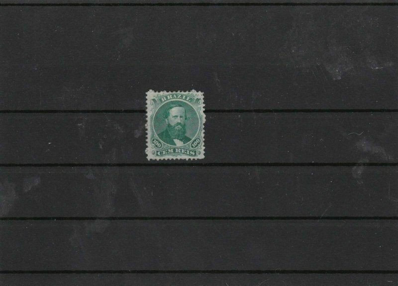 brazil 1866 100r green unused no gum mint cat £534  stamp ref 7400