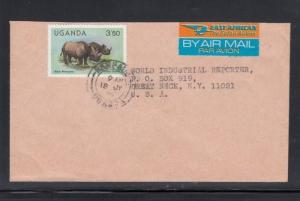 Air Mail Cover Kampala Uganda to USA East African Airline Label