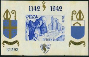 Belgium B304 var 1942,MNH-yellowish.Mi Bl.III/I. Restoration of Orval Abbey,1942