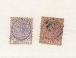 DOMINICA (MK6267) # 5-6  VF-USED 1,2 1/2p  QUEEN VICTORIA STAMPS CAT VALUE $43