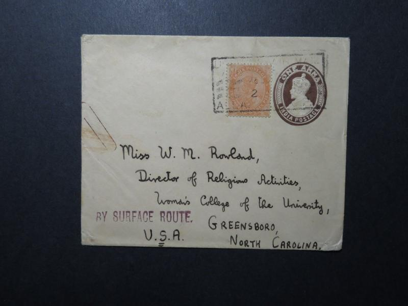 India 1938 Uprated Cover to USA - Z11687