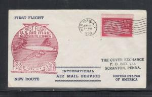 First Flight Cover FAM 18 New York NY to Beyrouth Lebanon 1950
