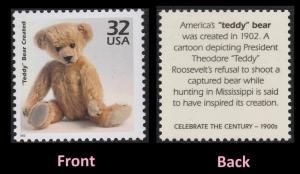 US 3182k Celebrate the Century 1900s Teddy Bear Created 32c single MNH 1998