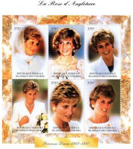 Comoro Is.1997 Diana Princess Shlt (6)  MNH VF Sc# 814