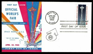 1962 US. #1196 Space Needle First Day Cover - World's Fair Stamp (ESP#5053)