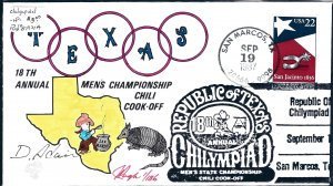 Rare Pugh Designed and Painted Texas Chili Cookoff FDC -only 74 created...