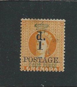 GRENADA 1888-91 1d on 4d ORANGE MM SG 39 CAT £170