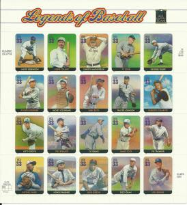 3408 Legends of Baseball Mint Sheet of 20 x 33 Cent Stamps