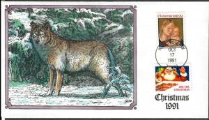 US Collins FDC SC#2578, 2579 Christmas 1991 Wolf