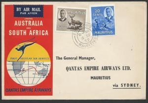 MAURITIUS 1952 Qantas first flight cover to Australia and return...........56505