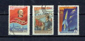 RUSSIA - 1959 - 21st CONGRESS COMMUNIST PARTY - SCOTT 2158 TO 2160 - USED