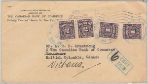 52315 - CANADA -  POSTAL HISTORY - COVER with POSTAGE DUE STAMPS