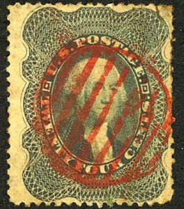 U.S. #37 Used Red grid Cancel