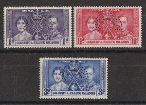 GILBERT & ELLICE ISLANDS : 1937 KGVI Coronation set 1d-3d, SPECIMEN. MNH **.