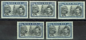 NIGERIA 1938 KGVI PICTORIAL 2/6 ALL PERFS AND SHADES