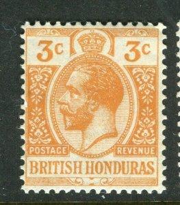 BRITISH HONDURAS; 1913 early GV issue fine Mint hinged 3c. value