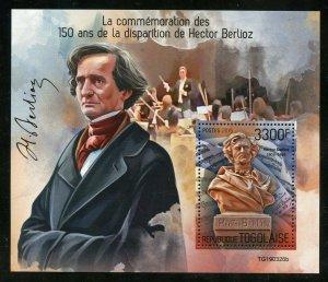 TOGO 2019  150th MEMORIAL  ANNIVERSARY OF HECTOR BERLIOZ  SOUVENIR SHEET MINT NH