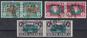 SOUTH WEST AFRICA 1939 HUGENOT SET PAIRS USED