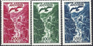 Andorra French 1955-1957 SC C2-C4 Mint SCV$ 169.00 Set