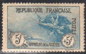 FRANCE YVERT #155 SCOTT #B10 XF LH  WAR ORPHANS 5F+5F MARSEILLAISE