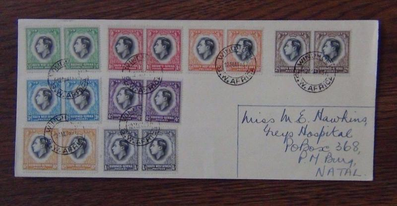 South West Africa 1937 Coronation set on First Day Cover