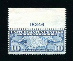 US Sc C7 Two Mail Planes 10¢ Air Mail Stamp With Plate Number Tab MNH