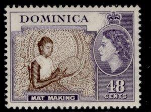 DOMINICA QEII SG155, 48c deep brown & violet, VLH MINT.