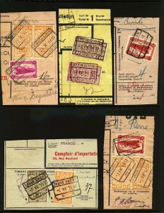 Belgium Railways 1930s issues tied to 10 document pieces with different  VFU