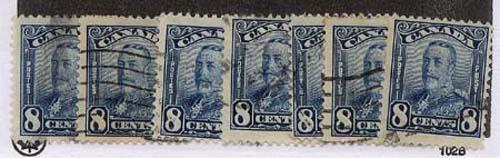 Canada - #154 - 1928 8c Blue KGV Scroll X 7 Used