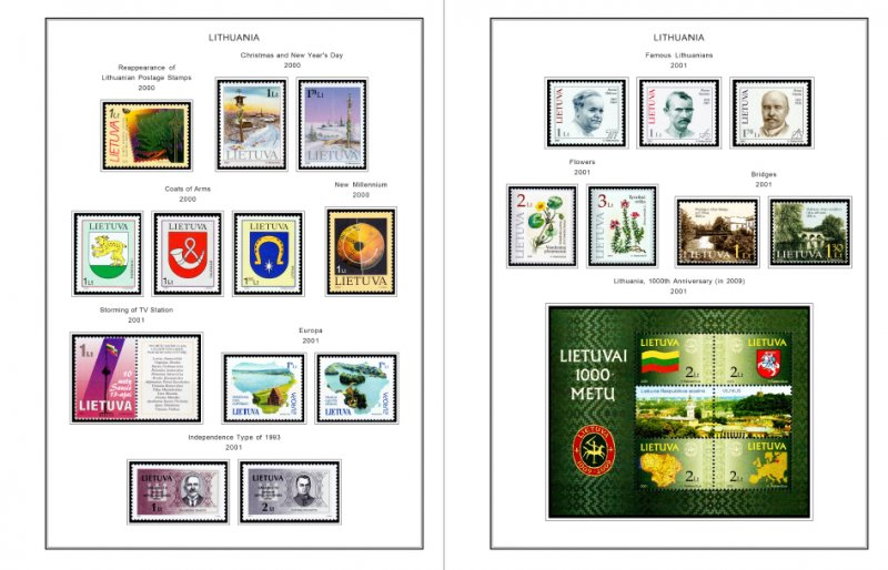 COLOR PRINTED LITHUANIA 2000-2018 STAMP ALBUM PAGES (65 illustrated pages)