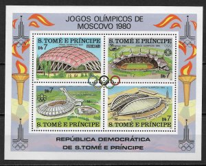 1980 St. Thomas & Prince Islands 572 Olympic Venues MNH S/S