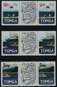 Tonga 526-8 Gutter Pairs MNH Tin Can Mail, Flag, Ship, Christmas o/p