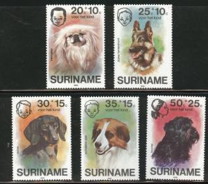 Suriname Scott B231-235 MNH** 1976  semi-postal Dog set