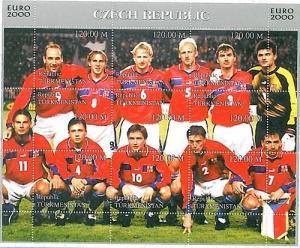 FOOTBALL - STAMPS: Turkmenistan - EURO 2000: CZECH REP
