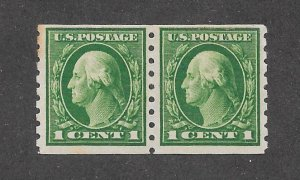 412 MNH 1c. Washington, Pair, scv: $130, Free Insured Shipping