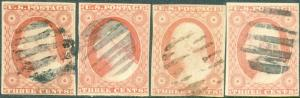 #11 (4) USED WITH DIFFERENT CANCELS CV $60.00 BP1985
