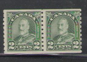 Canada Sc 180 1930 2 c grn G V coil stamp pair mint