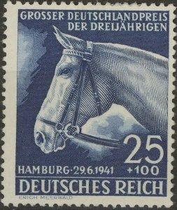 Stamp Germany Mi 779 Sc B191 1941 WWII Reich Blue Ribbon Race Hamburg Horse MH