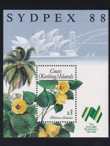 Cocos Islands # 199, SYDPEX '88, Hibiscus Flower, NH, 1/2 Cat.