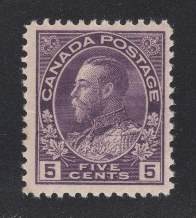 Canada #112 Violet - 5 Cents - Unused - O.G.