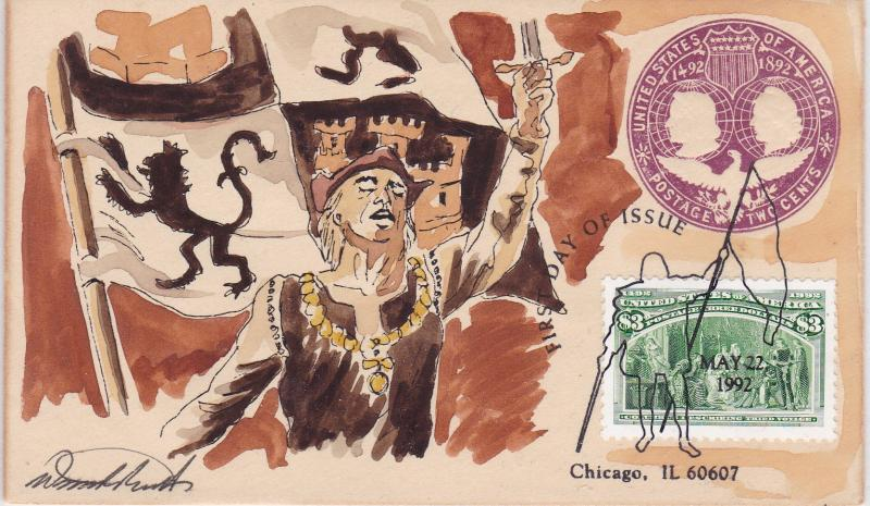 United States 1992 Christopher Columbus  Wild Horse Cachet FDC Hand Painted VF+