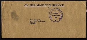 FIJI 1968 OHMS cover Government Buildings Suva cds to Penang...............95571