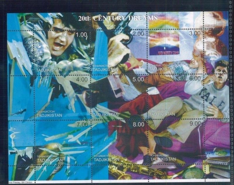 ELVIS PRESLEY + BILL CLINTON - Mini Sheet of 9 MNH TADJIKISTAN - E5