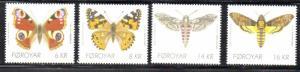 Faroe Islands Sc 529-32 2010 Butterflies & Moths stamp set mint NH