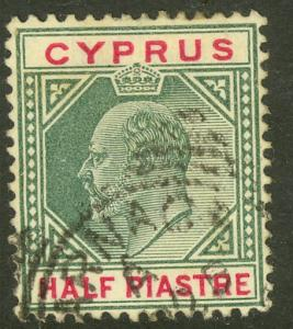 CYPRUS 1903 KEDVII 1/2pi Green & Rose Carmine Scott No. 38 F-VF Used