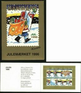Denmark Christmas Seals 1996 Souvenir Folder. Santa Playing,Snow,Music,Snow,Dog,