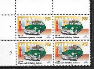 Netherlands Antilles #831 75c Classic Cars Margin blk of 4 (MNH) CV $6.40