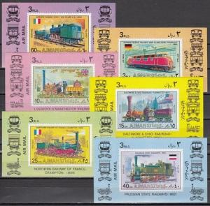 Ajman, Mi cat. 1197-1202 C. Locomotives issue as s/sheets.