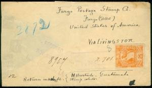 GUATEMALA : 1887 Registered cover to Fargo, North Dakota. Nice usage.